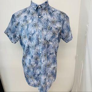 Marc Anthony Linen  Shirt L Blue  Slim Fit 624